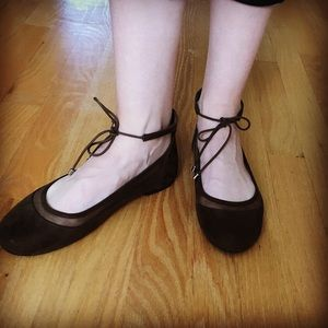 American eagle ballet flat with ankle tie.